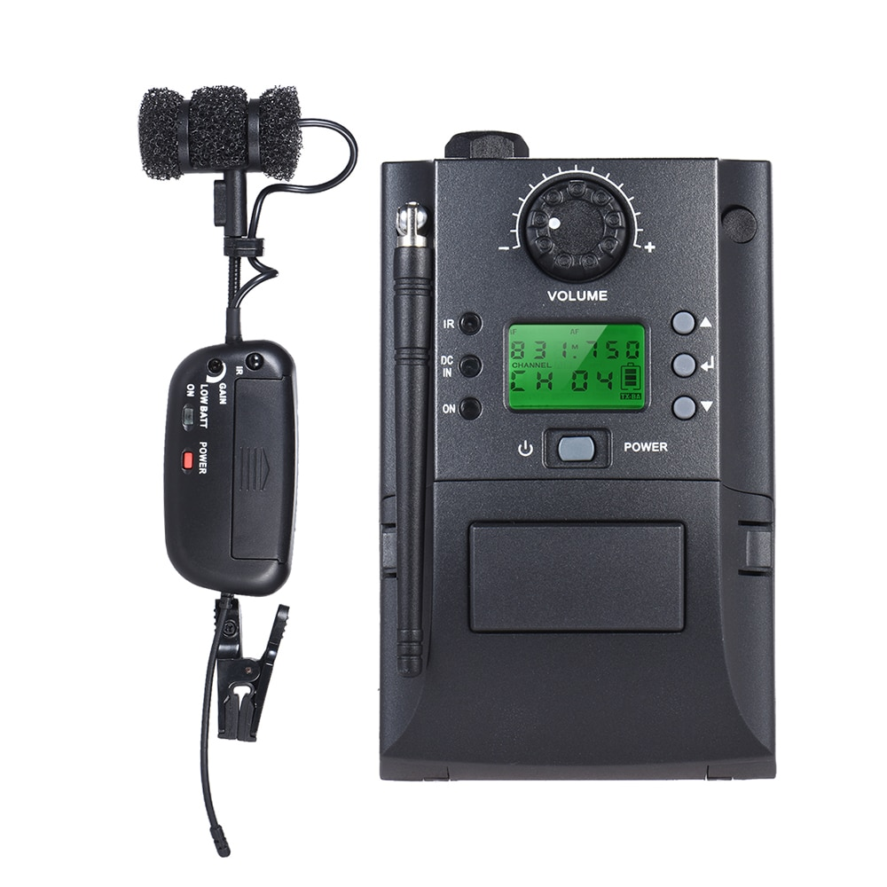 Portable Clamp Clip on UHF Instrument Wireless Microphone System with Receiver & Transmitter 32 Channels for Sax
