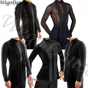 customized Fantasia Latin Dance Tops Black Long Sleeve high quality stretch Shirt New Men Ballroom Competitive Shirts(China)
