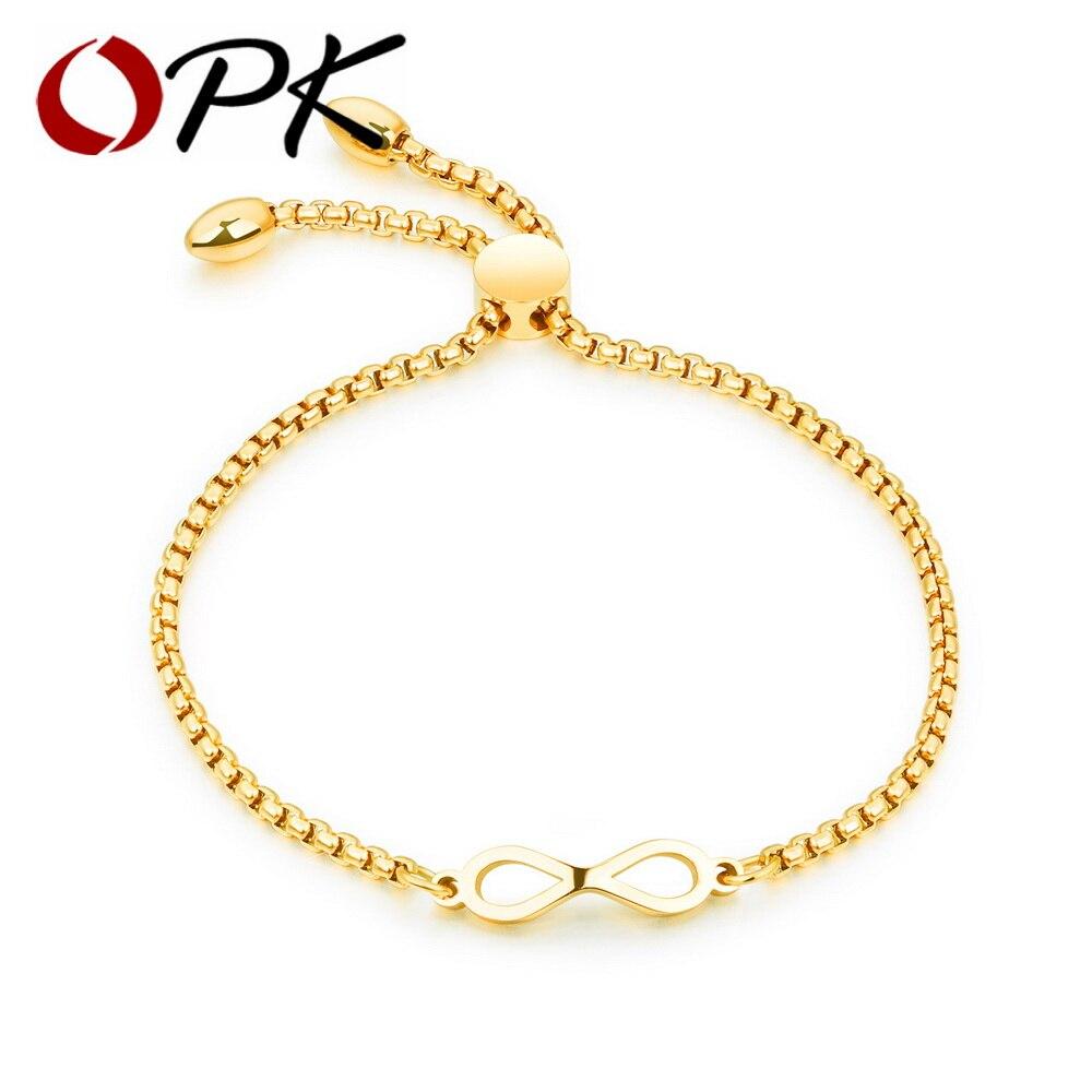 OPK Bohemia Infinite Bracelet For Women Rose Gold / Gold /White Color Length Adjustable Female Box Chain Charm BraceletGS893