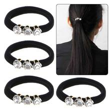 4 Pcs/Lot Simple Black Hair Rope Elastic Girl Seamless Rubber Band Hair Accessories Rhinestone(China)