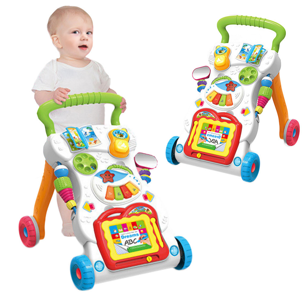 Baby Sit-to-Stand Learning Walker Trolley Multi-function Musical Speed Adjustment Walking Training Car Toy for 0-2 Years Child new hot sale baby toddler trolley sit to stand walker baby learning walking assistant infant safety baby walkers first steps car