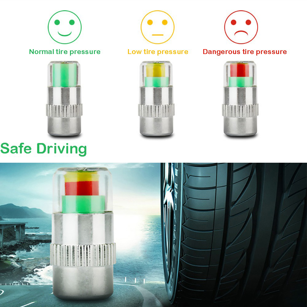 4PCSset Universal Visiable 32 Psi 2.2 Bar Air Warning Alert Tire Valve Pressure Sensor Monitor Light Cap Indicator For Cars