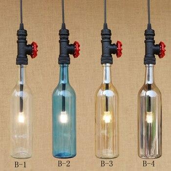 Moderne Vintage Glas flaschen schatten anhänger lampe Innen Beleuchtung G4 leuchte suspension led-lampe 220 v für dinningroom bar