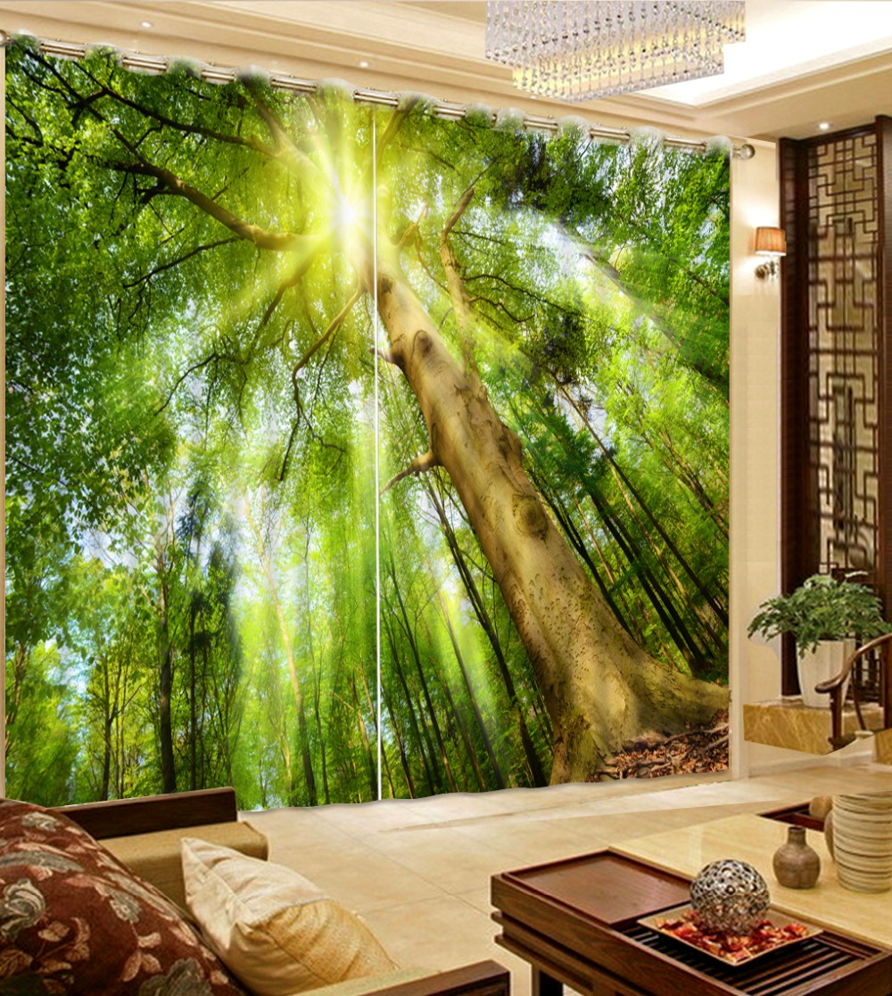 Custom photo curtains modern forest nature 3d curtains for for Hotel home decor