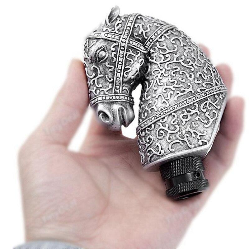 Универсальная высококачественная резиновая Серебряная классная Античная голова лошади в форме автомобиля ручная рукоятка для рычага переключения передач автомобильные аксессуары