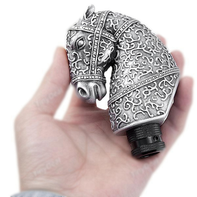 Universal High Quality Resin Silver Cool Antique Horse Head Shaped Car Manual Gear Shift Knob Lever Automobile Accessory