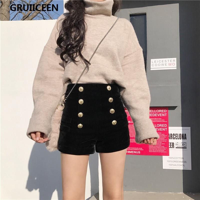e700f68bbf3 GRUIICEEN velour Velvet shorts women fashion button decorate High Waist  shorts thick warm for autumn and winter