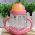 Xícara de Água quente 280 ml Crianças Bonitos Do Bebê Crianças Formação Alimentar Bebida Palha Lidar com Garrafa de Água Da Escola Saudável Beber Leite garrafas