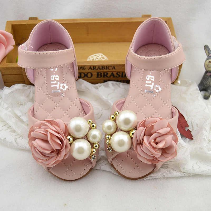 Kız Çiçek Sandalet Butik Boncuk Prenses Elbise Ayakkabı Açık ayak Yaz Sandalet Parti Düğün Flats Boyutu 24-34 sandalias