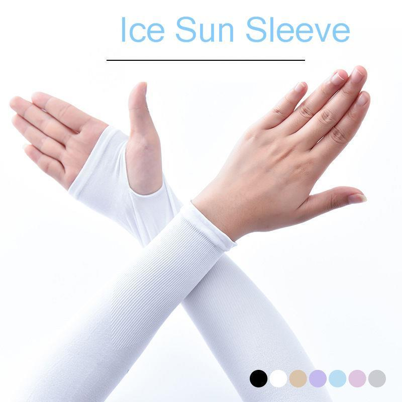 Long Gloves Sun UV Protection Hand Protector Cover Arm Sleeves Ice Silk Sunscreen Sleeves Outdoor Arm Warmer Half Finger Sleeves