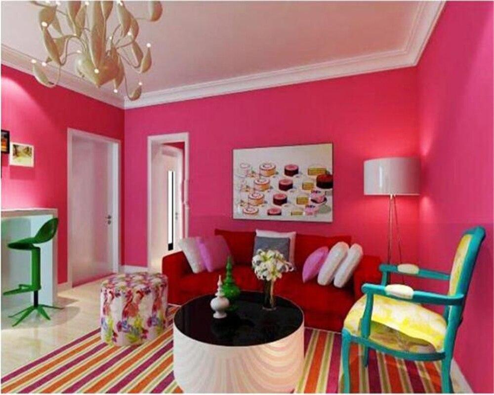 Beibehang Personalidade plain cor rose red não-tecido papel de parede quarto papel de parede loja de unhas hotel loja de roupas papel de parede