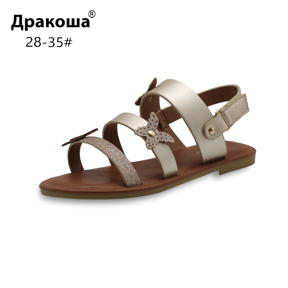 Apakowa Eur 28-35 Summer Children's Shoes For Girls Beautiful Girls Flat Sandals For Beach Party Wedding Kids Open Toe Footwear