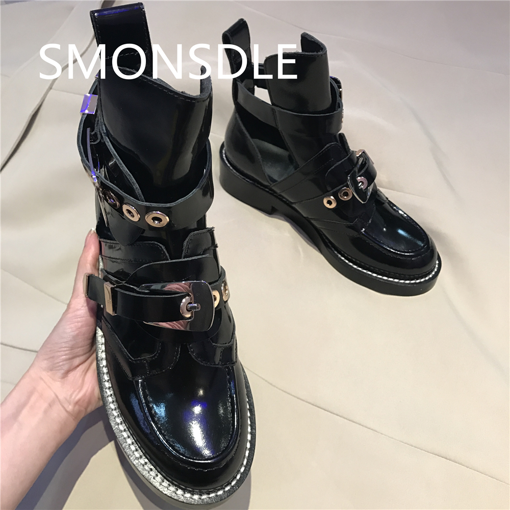 2018 New Spring Summer Shoes Woman Ankle Hollow Boots Metal Buckle Hot Designer Real Leather Mortorcycle Boots Women Tide Shoes 2018 new spring summer shoes woman ankle hollow boots metal buckle genuine leather mortorcycle boots low thick heel women shoes