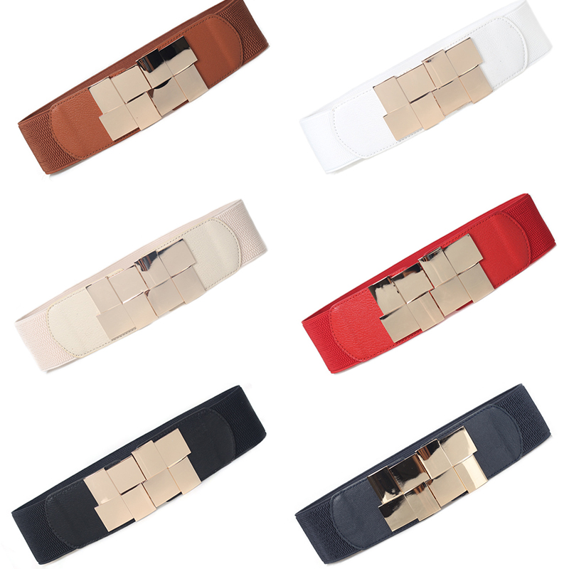 New fashion ladies elastic skirt wide   belt   Square stitching metal buckle Wild women's decorative thick waist seal wide
