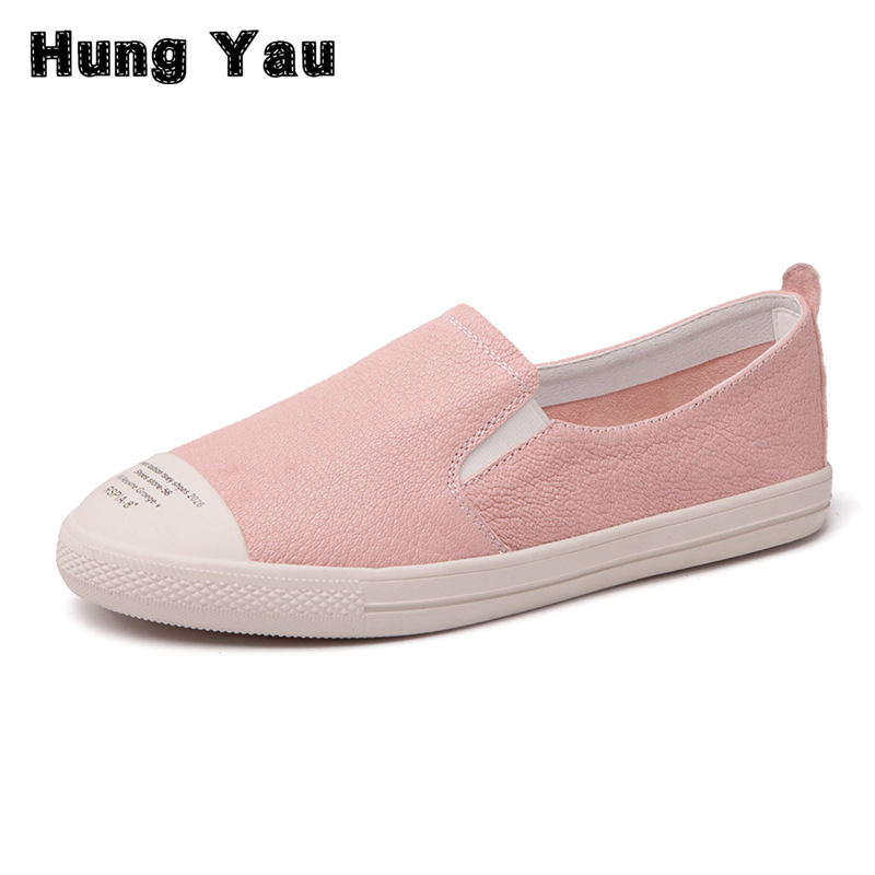 Hung Yau Women Casual Shoes Flats Loafers Breathable Women Flats Slip On Genius Leather Flats Shoes Women Low Shallow Size US 8 minika women shoes flats loafers casual breathable women flats slip on fashion 2017 canvas flats shoes women low shallow mouth