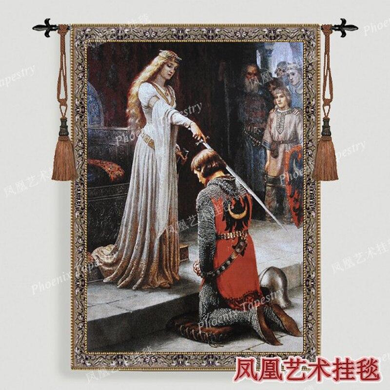 Горячей продажи Бельгия гобелен королева рыцарь большой 140*100 см гобелен гобелены декоративную ткань картины Домашний текстиль продукты