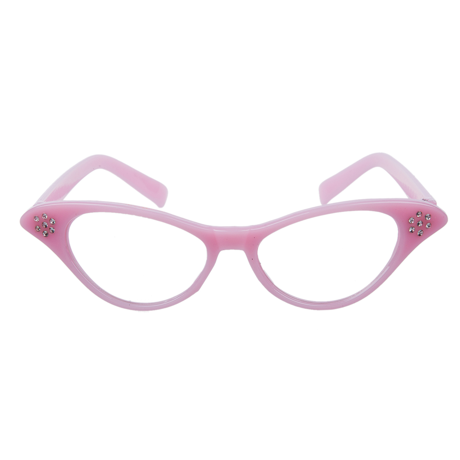Pink 50's Grease Ladies Rock And Roll Fancy Dress Glasses