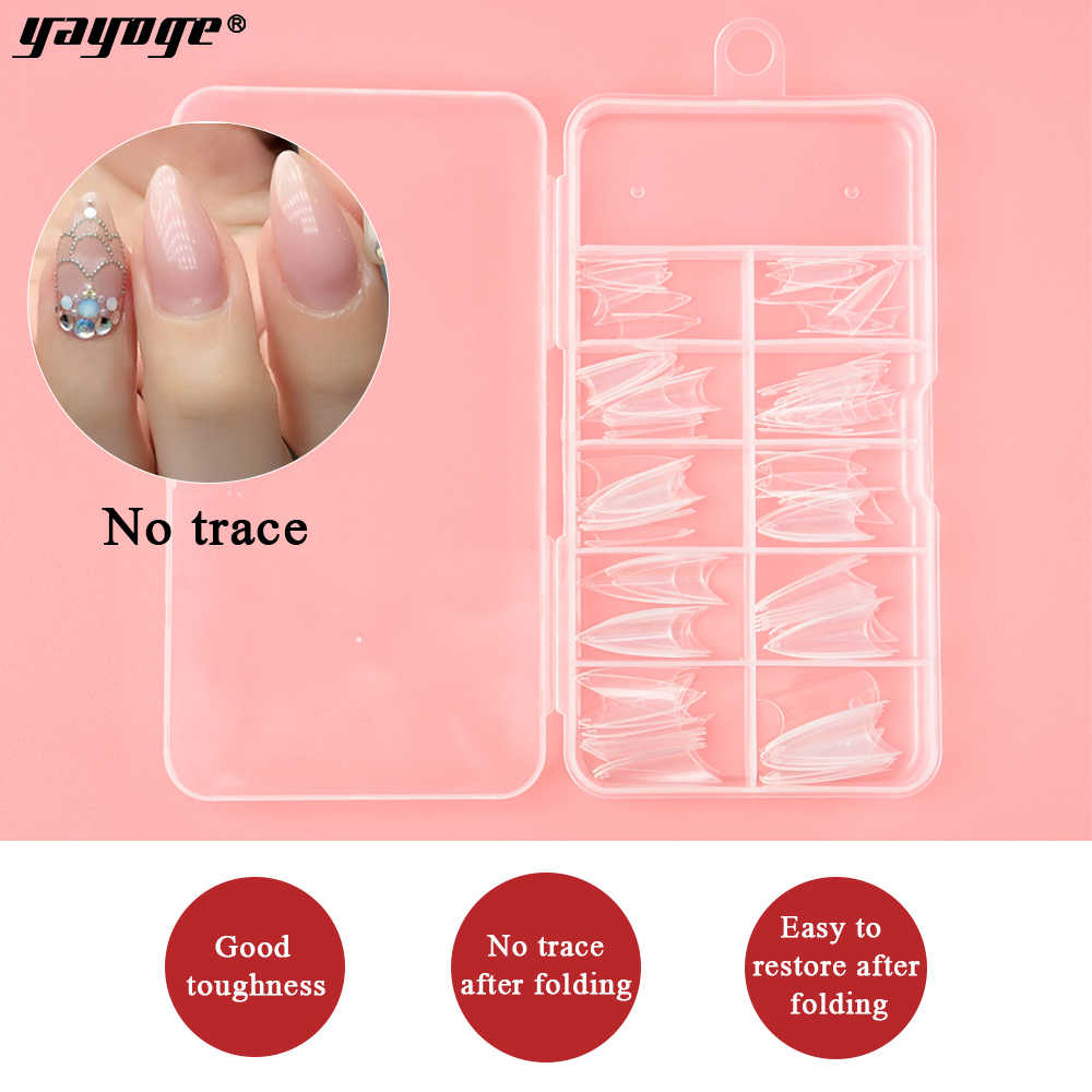 Yayoge 100pcs Francese Mezza Nail Tips Natural False Nails Acrylic art tips Per L'estensione Delle Unghie Manicure Strumento