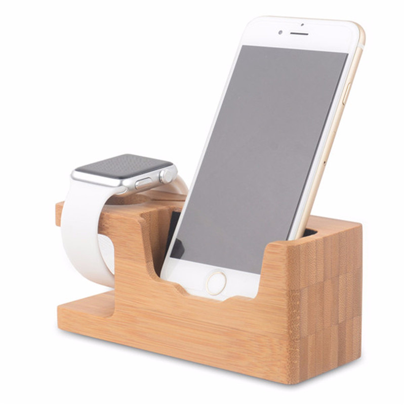 Universal Smartphone Bamboo Wooden Desk Stand Charging Station Holder Multifunction Useful For iPhone For Samsung For iWatch ...