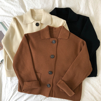 3 colors 2019 spring and autumn turn down collar solid color sweater womens knitted cardigans womens (X201)