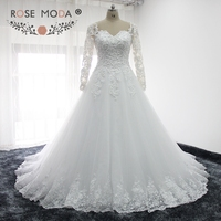 Rose Moda Long Sleeves Arabic Wedding Dress Pearl Beaded Lace Wedding Dresses Ball Gown 2018