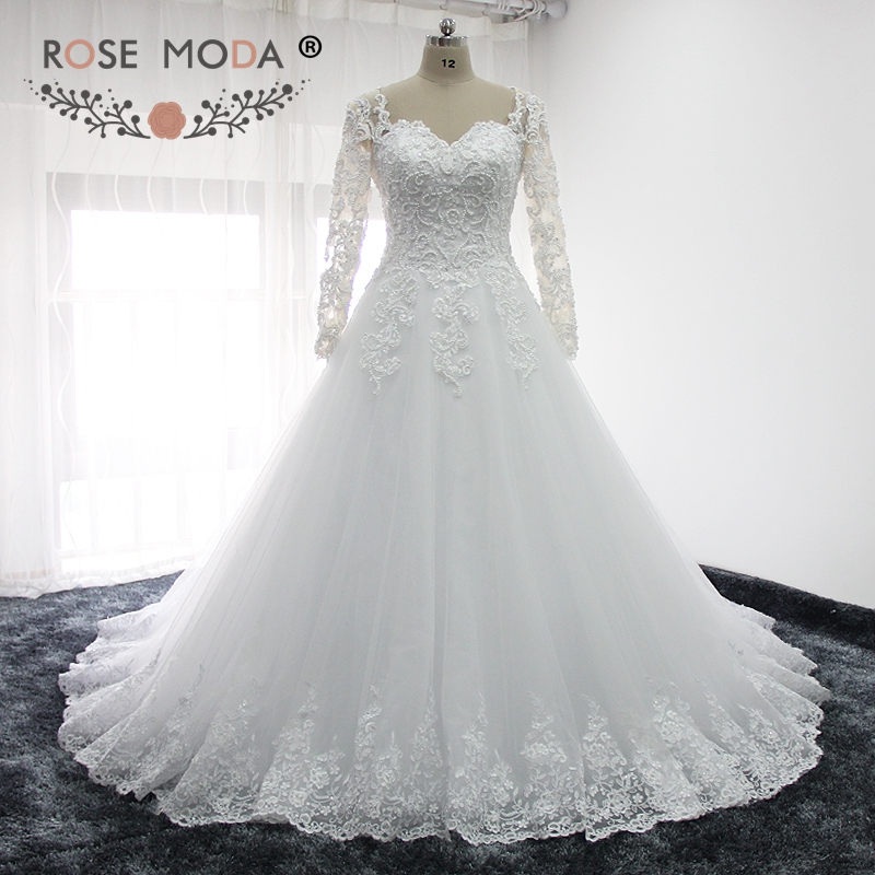 Rose Moda Long Sleeves Arabic Wedding Dress Pearl Beaded Lace Wedding Dresses Ball Gown 2019