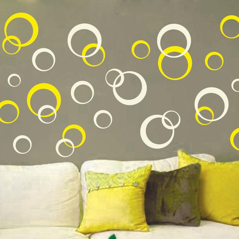 moda colores hermosos crculos lunares vinilo decoracin de la pared mural decoracin arte de corte