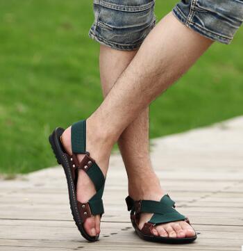 2018 La Sa slip Chaussures D'été Confortable Hommes As Plage Cuir Première as Couche Mode Non Pic Casual Pic Marée De En Étudiant nqwATr0qg