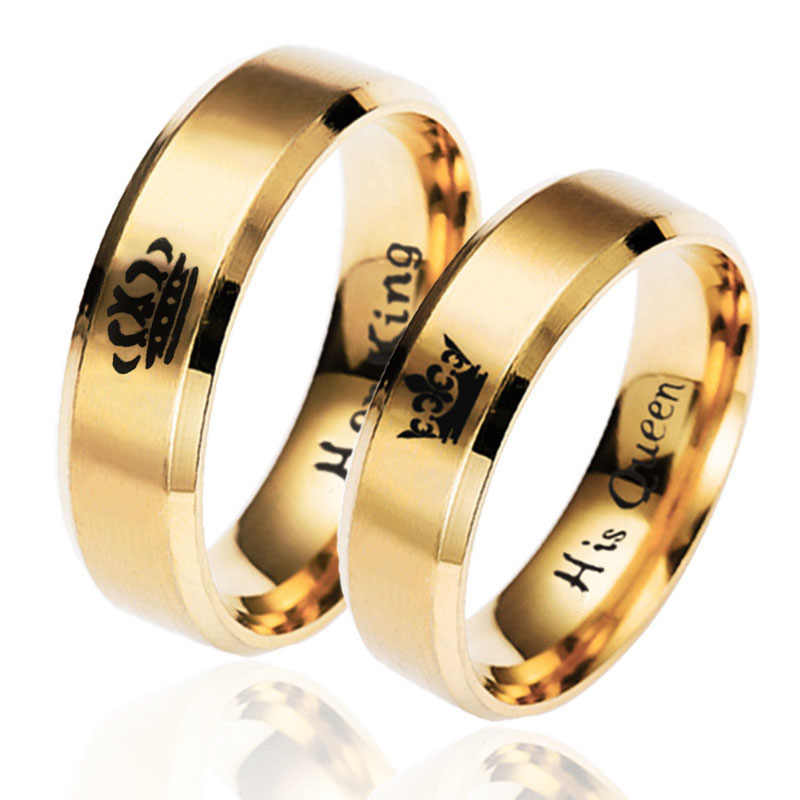 6mm Gold Ring Her Queen Her King Fashion Jewelry Dating For Couples Stainless Steel Women and men