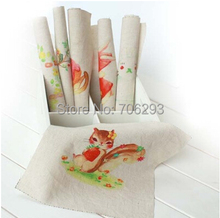 Hand dyed 6Assorted  Cotton Linen Printed Quilt Fabric For DIY Sewing Patchwork Home Textile Decor 20x20cm cute rabbit