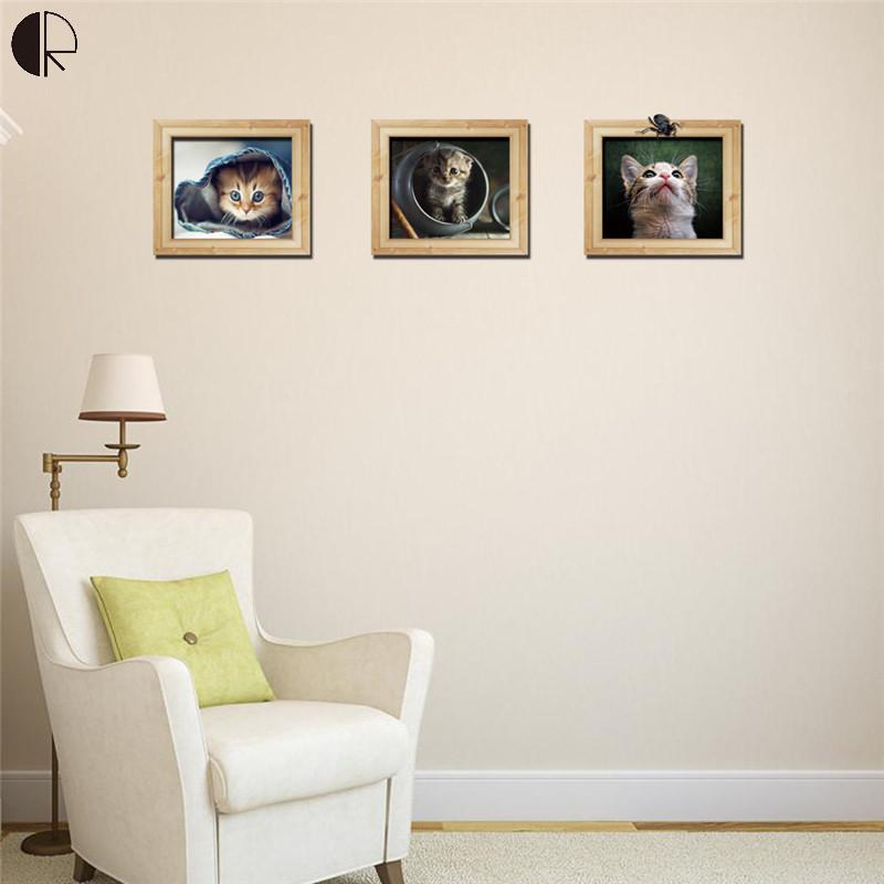 Fanshionalbe Animal Cats Wall Decoration Wall Stickers 3 Piece Set Home Decoration Vinyl Wall Decal