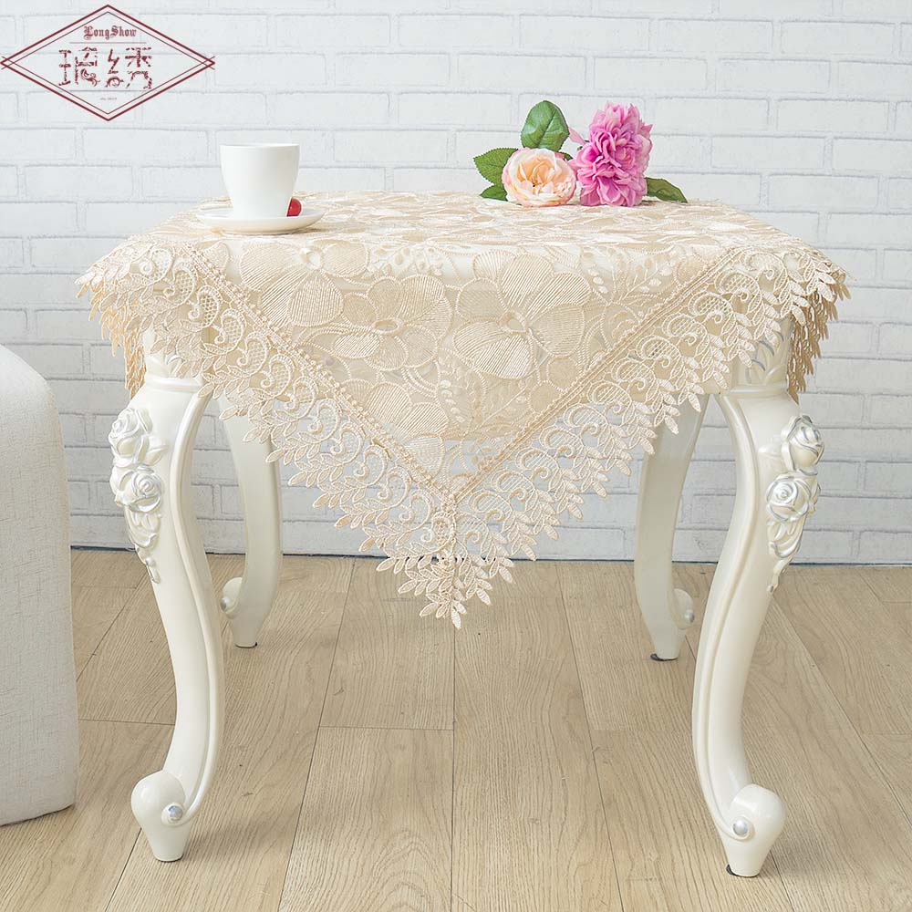 LongShow Light Coffee Pure Organza Lace Trim LOTUS Embroidered Tablecloth