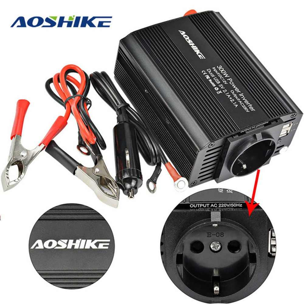 AOSHIKE Dual USB 4.2A inverter 12v 220v 300W 500W EU Car Power Inverter 12V to 220V Auto Voltage Transformer Car Adapter
