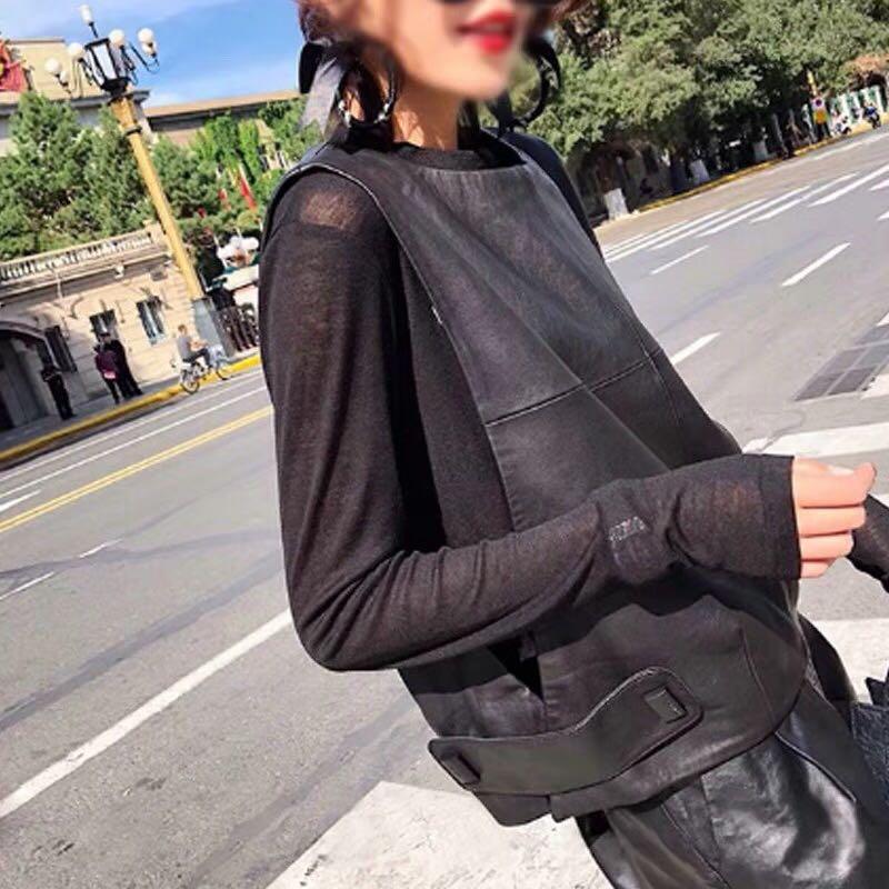 Image 4 - Women Genuine Leather Waistcoat Sheepskin Loose Fit Pullover  Sleeveless Jacket Lady Autumn Short Leather Vest Streetwear TopsVests