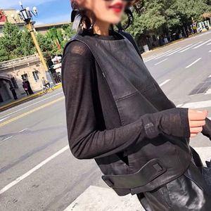 Image 4 - Women Genuine Leather Waistcoat Sheepskin Loose Fit Pullover Sleeveless Jacket Lady Autumn Short Leather Vest Streetwear Tops