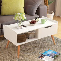 E583 Living Room Modern Coffee Table Density Plate Solid Wood Foot Tea Table Small Apartment Short Side Table Creative End Table