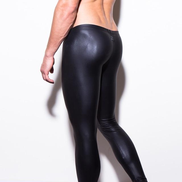 aef7d0547f6169 Moda Uomo Nero Faux pantaloni di Pelle Pantaloni Lunghi Sexy E novità  Skinny Collant Muscolari Uomo