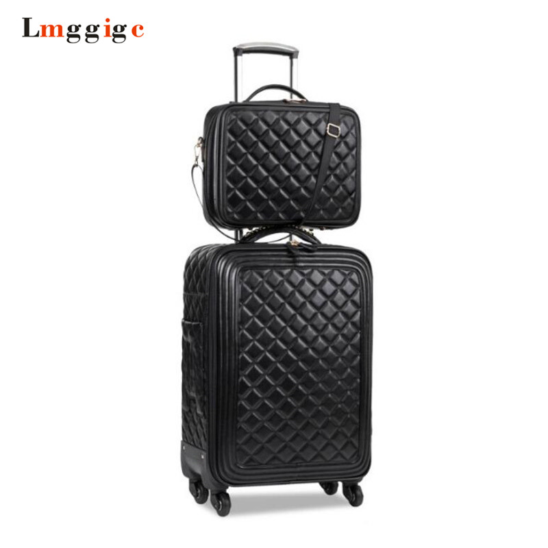 Luggage Sets,16/20/24 Inch Lady Carry-on Trolley Case,High-quality Leather Suitcase,Retro Suitcase,High-quality Luggage,valise