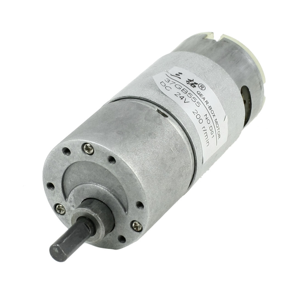 Uxcell High Quality DC 24V 3A 200RPM Speed Reducing 36mm Geared Box Motor 6mm Shaft with 2 Terminals for Grill, Oven, Lighting