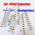 Frete Grátis 13valuesX10pcs = 130 pcs SMD 16 V ~ 50 V Capacitor Eletrolítico de Alumínio Variedade Pack Kit para Computador Motherboard