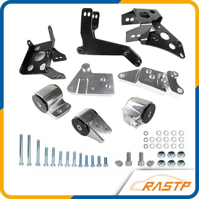 RASTP - Aluminum Racing 70A K-Series Engine Mounts For 96-00 Honda Civic EK Chassis Motor Swap Kit LS-EM1008 universal racing air intake pipe for honda civic 92 00 ek eg