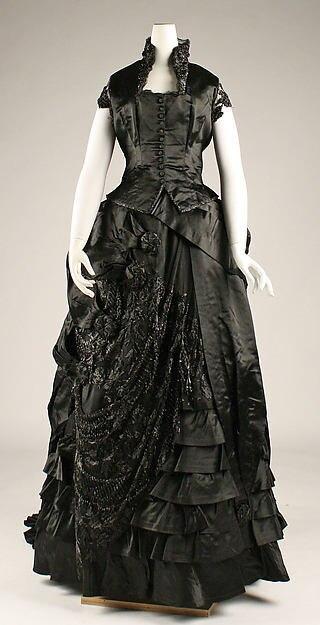 1870 s Американский или Европейский Виктория Халат Шелковый Ужин Платье Суеты Платье