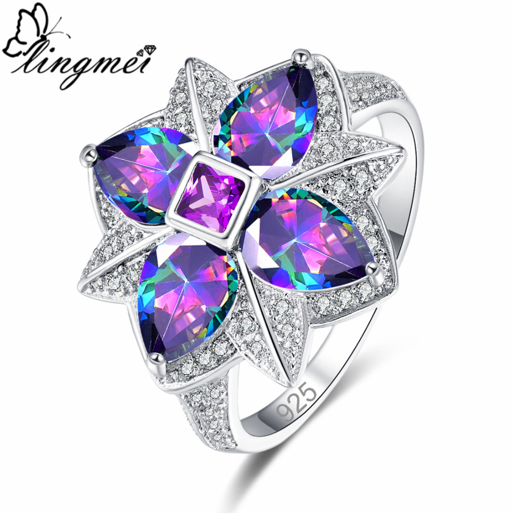lingmei DropShipping New Flower Style Multi-color Purple & Blue Red White CZ Silver Ring Size 6 7 8 9 For Women Wedding Jewelry