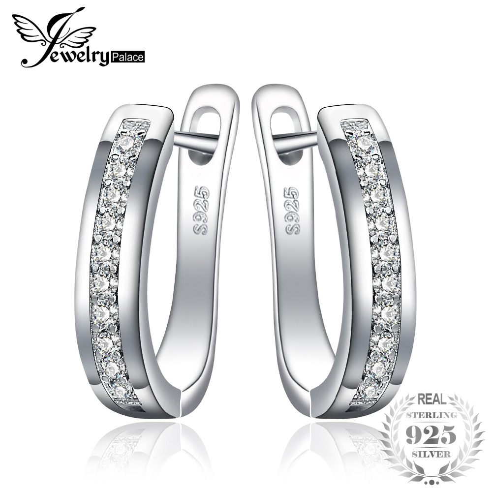 JewelryPalace Anniversary Channel Set Eternity Clip On Earrings Real 925 Sterling Silver Brand New Fine Jewelry Birthday Present
