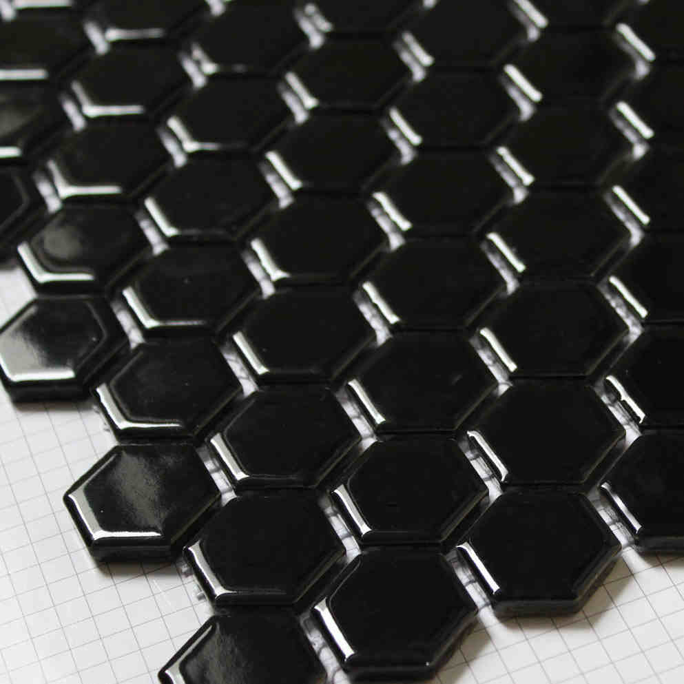 Black Hexagon Ceramic Mosaic Font