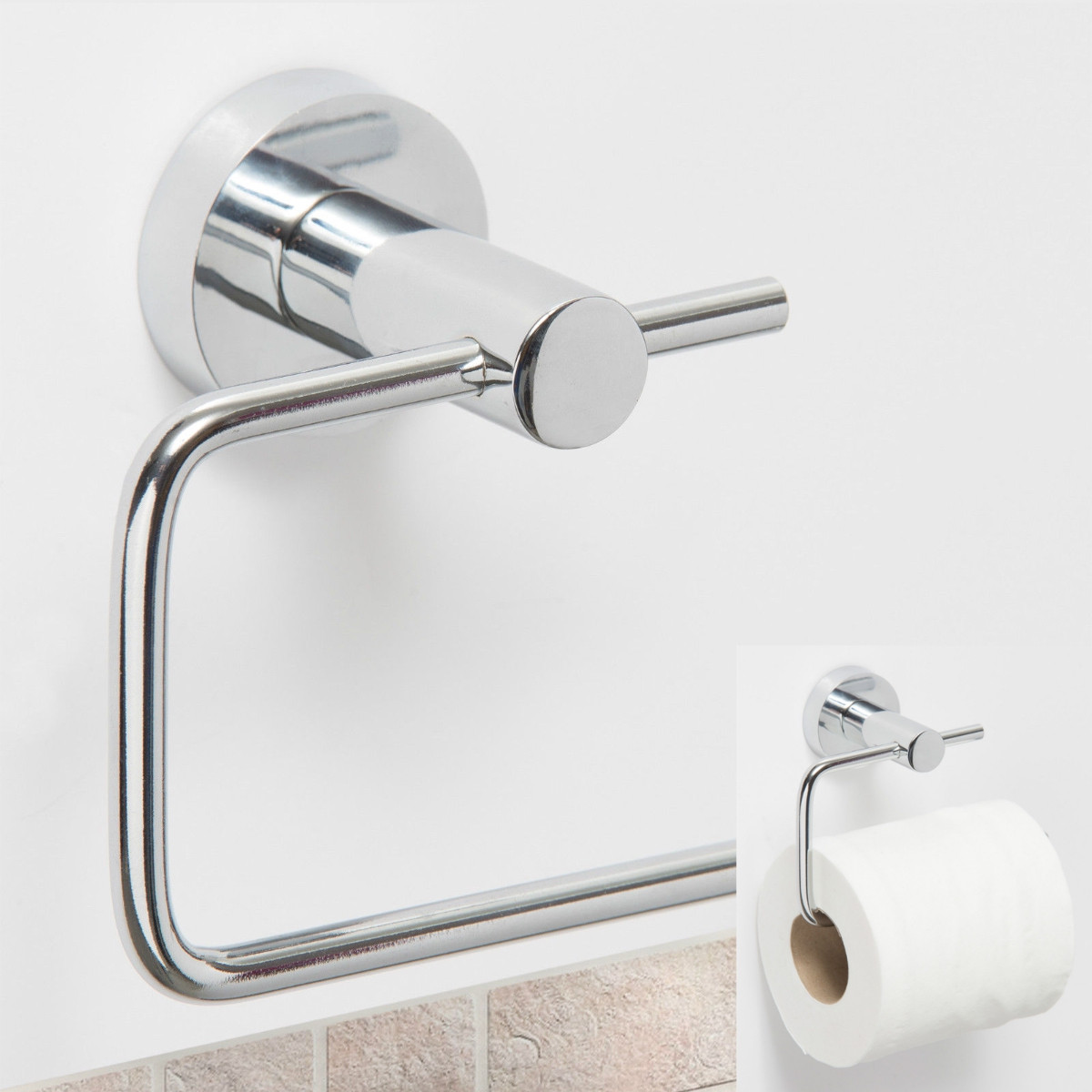 Bathroom Hardware Cheap Price Shamanda Sus 304 Stainless Steel Kitchen Bathroom Towel Dispenser 3m Stick Suction Cup Toilet Paper Holder Polished Finished Paper Holders