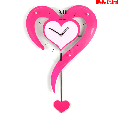 HOT Designer Decoration Swing Wall Clock Pink Color Fashion Personality Heart Pocket Watch Rustic