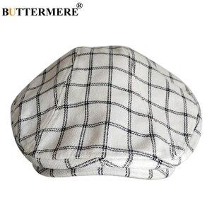 Image 4 - BUTTERMERE Cotton Flat Caps For Men Houndstooth Black Beret Male Casual Uv Duckbill Ivy Cap Vintage Autumn Mens Directors Hat
