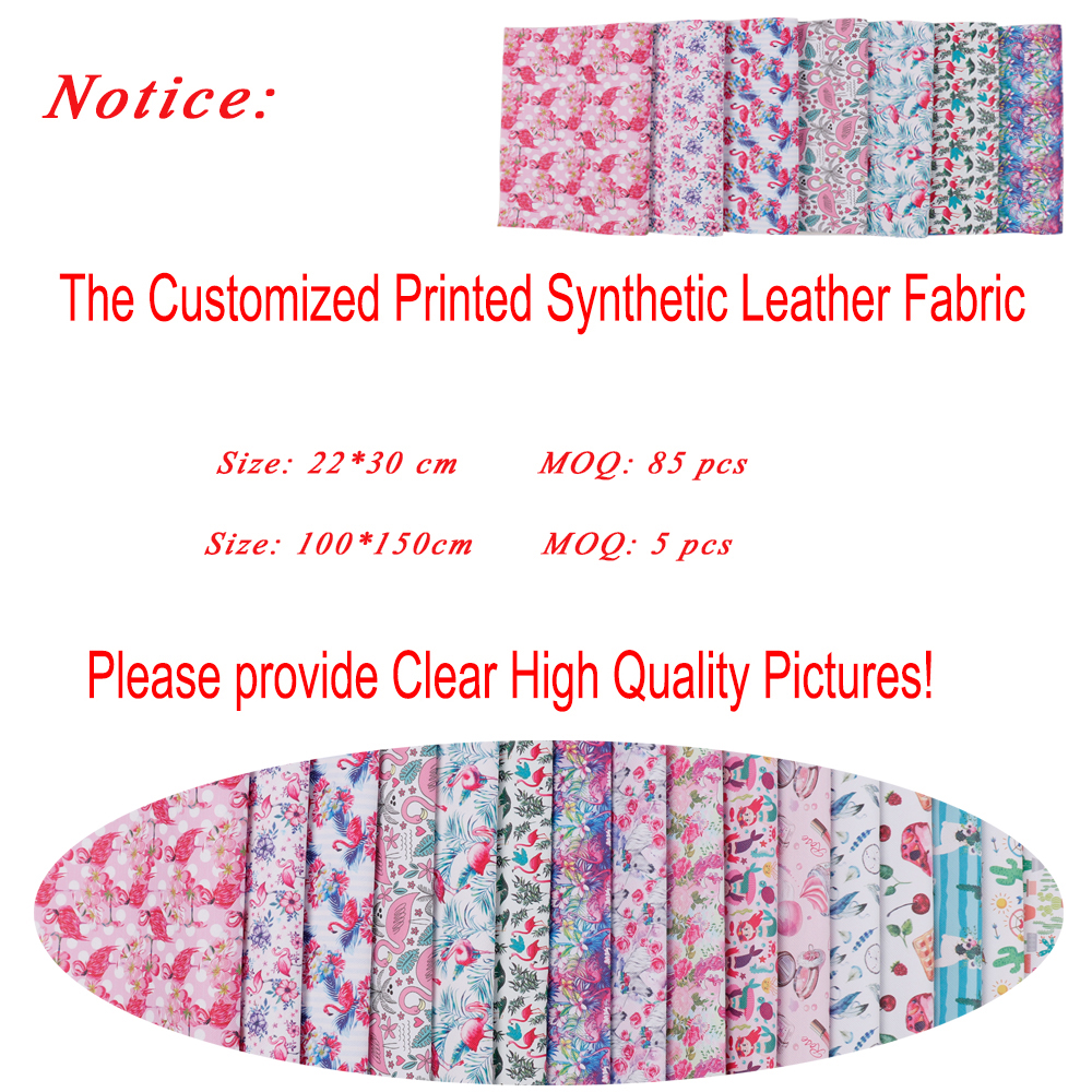 Wholesale Custom Made Synthetic Leather Fabric DIY Hairbows Accessories Home Textile Printed Fabric DIY Dolls Sewing