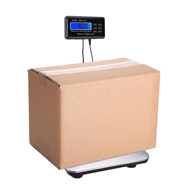 0.1-300 kg 660lb Digitale Heavy Duty Trasporto Libero Postale Bilancia con Durevole In Acciaio Inox di Grandi Dimensioni Pacchetto di Pavimento Della Piattaforma Bilancia LCD AC